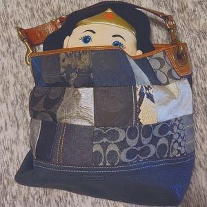 Coach blue denim patchwork large tote #10003